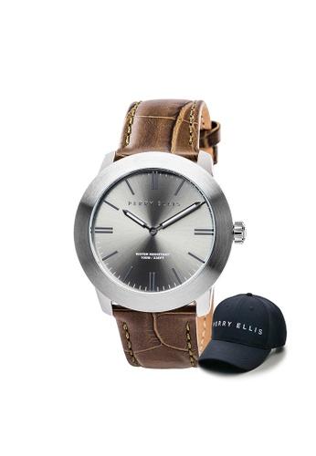 Perry Ellis brown Perry Ellis Slim Line Unisex 42mm Quartz Watch 07010-01 with Perry Ellis Cap 9FF76AC1245046GS_1
