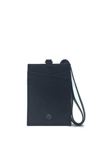 Goldlion black Goldlion Classic Leather Lanyard with Cardholder- Black E8AF9AC6779CE3GS_1