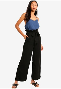 ce42d69bb 25% OFF ZALORA BASICS Basic Paperbag Self Tie Pants RM 79.00 NOW RM 59.00  Sizes XS S M L XL