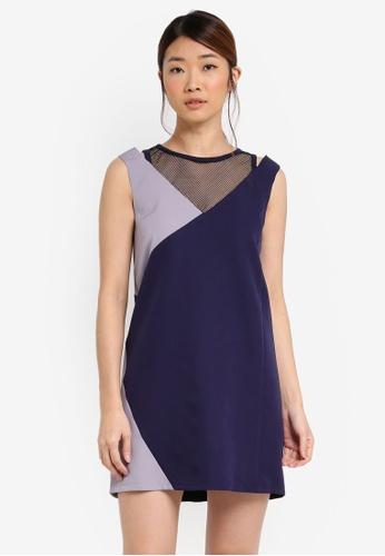 Something Borrowed navy Mesh Panel Sleeveless Shift Dress 5BE45AA553B39BGS_1