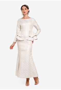 fb688a07 Zalia beige and gold Jacquard Peplum Mermaid Dress A6D5CAA891F048GS_1
