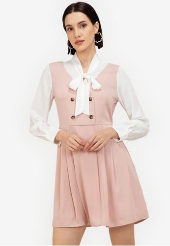 ZALORA WORK pink Pleated Pinafore Dress A1D8EAA2C9C6F0GS_1