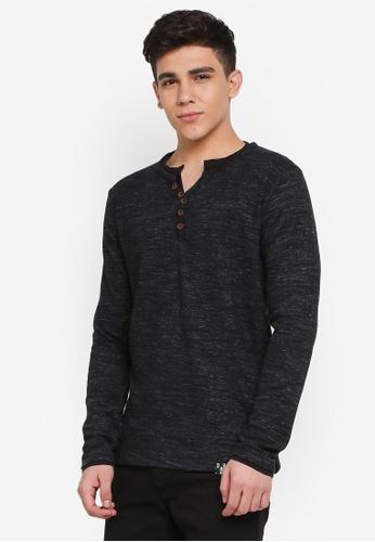 Indicode Jeans black Ander Long Sleeve Melange Grandad T-Shirt DFB2AAA8827B4BGS_1