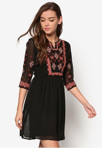 刺繡圖案七分zalora時尚購物網的koumi koumi袖連身裙, 服飾, 洋裝