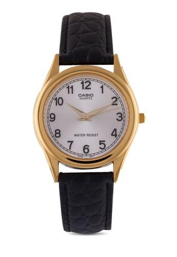 Casioesprit outlet MTP-1093Q-7B1 數字圓框皮革手錶, 錶類, 皮革錶帶