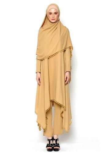 OWLBYND brown Owl By Nora Danish Umrah & Hajj Wear-Khawla Suit + Wide Shawl 51498AAA1B6C39GS_1