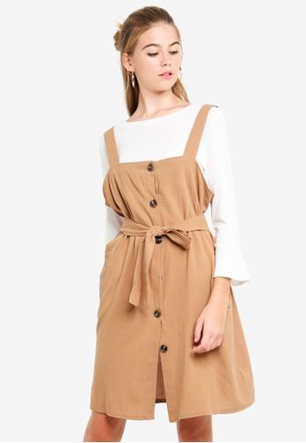 Eyescream brown Button Down 2-Piece Pinafore Dress 4601DAADBFC754GS_1