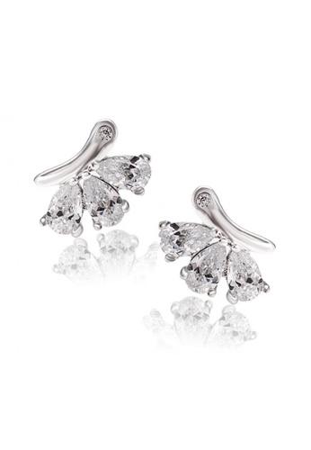 CELOVIS silver Tri Luxurious Cubiz Zirconia Stud Earrings (0.41 ct) CE446AC36UHRMY_1