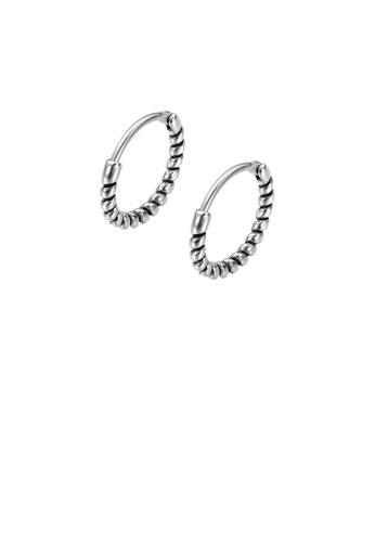 Glamorousky silver Simple Vintage Geometric Round 316L Stainless Steel Stud Earrings 246B3AC0FC72EBGS_1