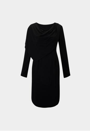 Pomelo black Sustainable Draped Effect Dress - Black E4320AAAAC7802GS_1