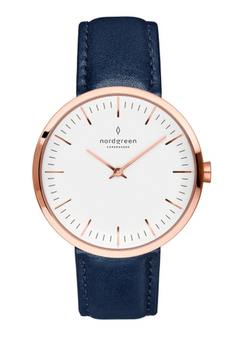Nordgreen blue and gold Nordgreen Infinity Rose Gold 32 mm - Navy Blue Leather Watch E6620AC34E170EGS_1