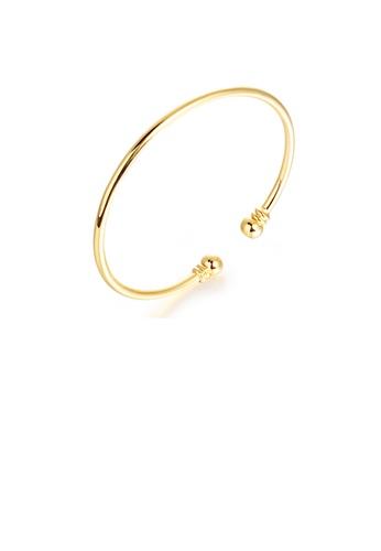 Glamorousky silver Simple Fashion Plated Gold Geometric Opening Bangle 75740AC17563F6GS_1