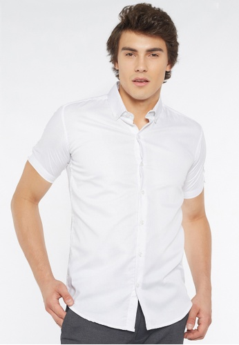 Août white Août Singapore - Mens Short Sleeved Cotton Dobby Shirt in White - Lucy B0EF7AA554BE70GS_1