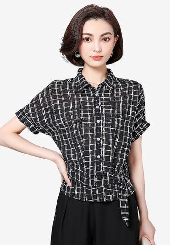 hk-ehunter black Grid Patterned Chiffon Shirt with Belt 55864AA7C131D5GS_1