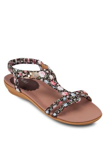 印花T 字帶楔型跟低跟涼鞋, 女鞋,esprit taiwan 涼鞋