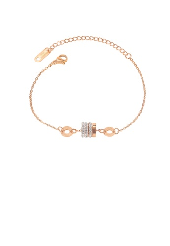 Glamorousky white Simple Fashion Plated Rose Gold Geometric Cylindrical Roman Numerals 316L Stainless Steel Bracelet with Cubic Zirconia 64CF8AC27AB022GS_1
