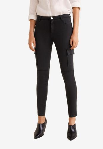 Mango black Cotton Cargo Trousers 66CA2AAD2F5EC8GS_1