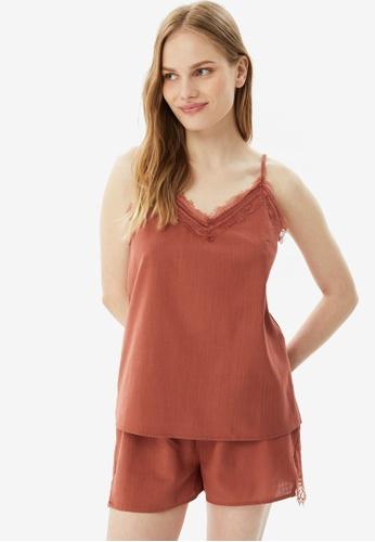 Trendyol 褐色 2-Piece 蕾絲 細肩帶Pajamas Set 1082DAA229AFF2GS_1