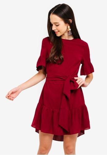 Something Borrowed red Waist Tie Ruffles Hem Relaxed Dress AB6B3AA02C822FGS_1
