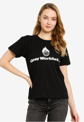 OBEY 黑色 Obey Worldwide Flame T-Shirt 1DAF4AA5D5FF6CGS_1