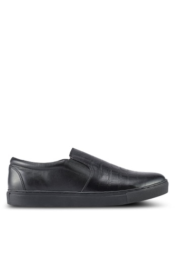 ACUTO black Leather Slip Ons AC283SH0SL7KMY_1