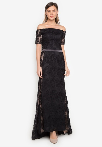 Shop Fatima Beltran Clothing Line Black Off Shoulder Long Gown ...
