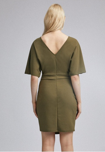 Dorothy Perkins Damen Khaki Kimono Sleeve Bodycon Dress L/ässiges Kleid