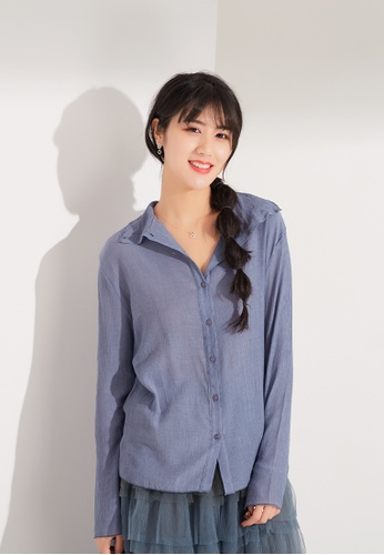Zafiti blue Long Sleeves Shirt 0C468AAC4C7AF1GS_1