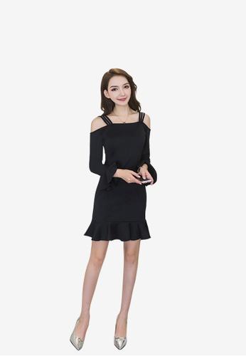 hk-ehunter black Women Pack Hip Flare Sleeves Dress 889B7AAD8E0BB4GS_1