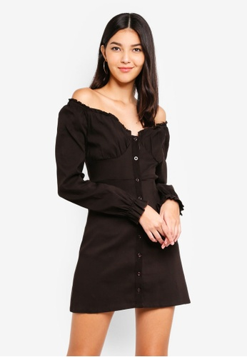 MISSGUIDED brown Button Down Milkmaid Dress 19D91AAC39CE91GS_1