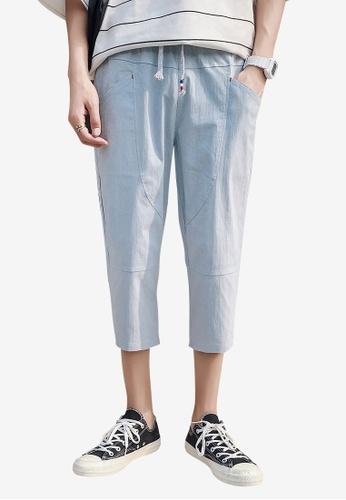 hk-ehunter blue Men Solid Colored Drawstring Fasten Calf-Length Pants CFE1DAAF998518GS_1