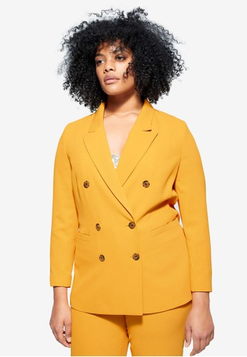 Violeta by MANGO yellow Plus Size Double Button Blazer 8076CAA8528E7AGS_1