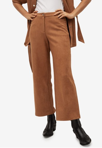 Mango brown Leather-Effect Straight Trousers 1C3AFAA00730C7GS_1