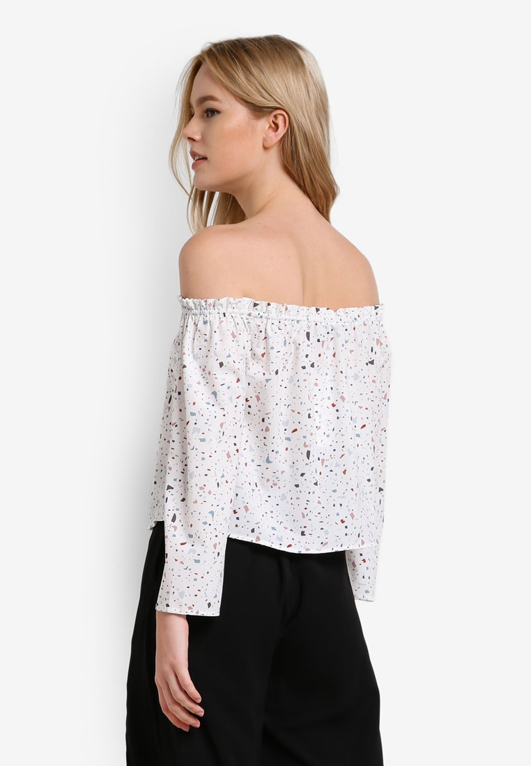 Edge Top Ruffle Base White Off Borrowed Something Shoulder FzO6zx
