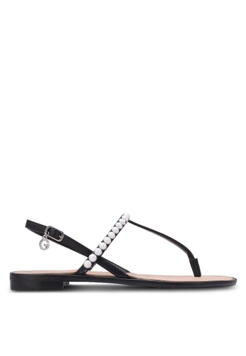 Guess black Henrica Rhinestone Sandals GU020SH0S7L5MY_1