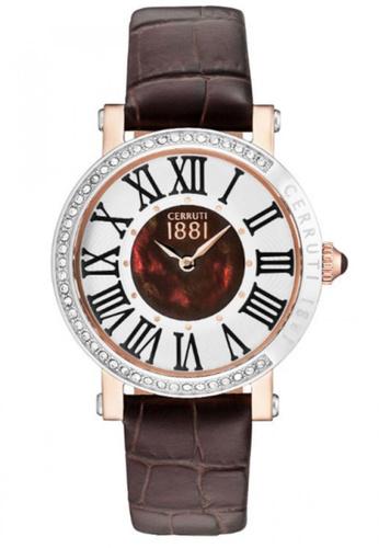 CERRUTI 1881 brown Angera Dark Brown Leather Strap Silver & Brown MOP Dial Ladies Watch CE514AC91QMMMY_1