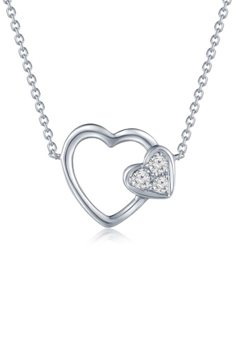 MaBelle silver 18K 750 Diamond Connected Heart Necklace 9327EAC2EBDB82GS_1