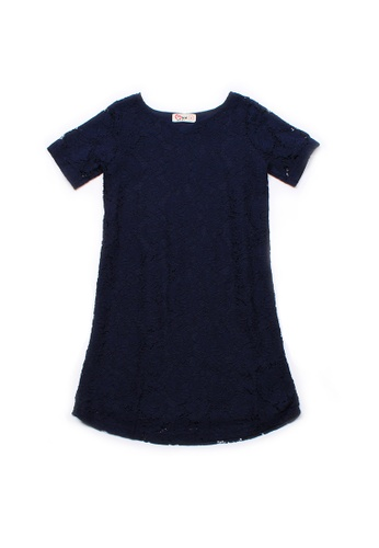 Mini Moley navy Floral Lace Girl's Shift Dress C19DFKAFB8622AGS_1