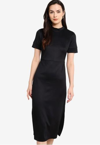 ZALORA WORK black Mock Neck Midi Dress 7FB4AAABF2F695GS_1