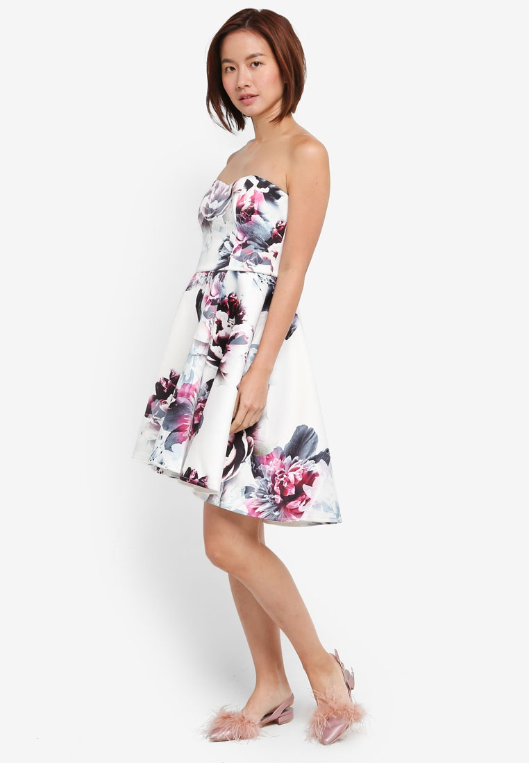WS Lipsy Dress Skater Floral Multi rP0xq4XnrU