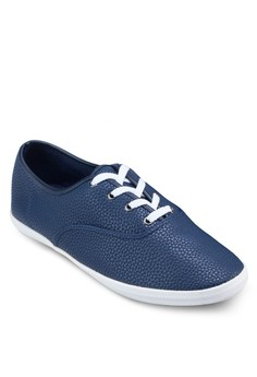 Basic Embossed Faux Leather Plimsolls