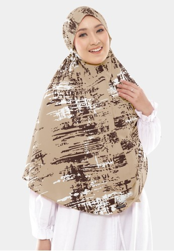 COTTON BEE brown Hijab Instan Tali Motif Nasywa Bergo Syari Jumbo - Camelo Claro 80806AAAC45410GS_1
