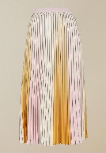 Ted Baker yellow Ted Baker Noviia Ombre Pleated Skirt 1CEC1AA41B9EADGS_1