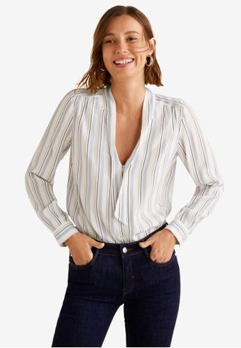 Mango white Stripe Print Blouse BE4B5AA92299EFGS_1