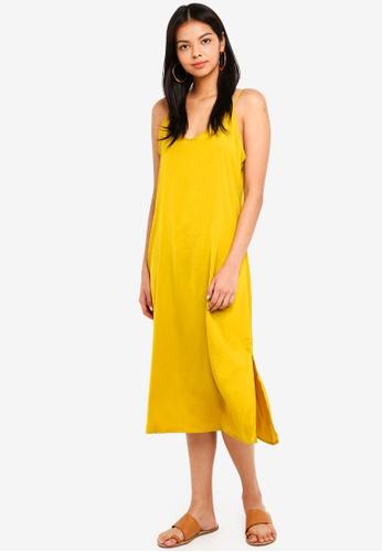 Cotton On gold Woven Satin Midi Dress 6E8CFAA6306E7EGS_1