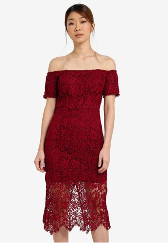 Something Borrowed pink Lace Off Shoulder Bodycon Midi Dress 5ACE5AA1E6D4D8GS_1