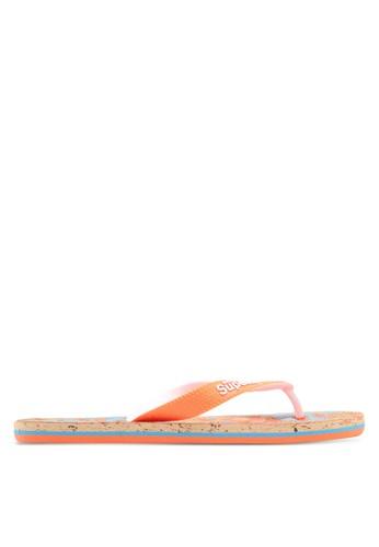 Superdry orange and blue Printed Cork Flip Flops 2DDE9SHECAB48EGS_1