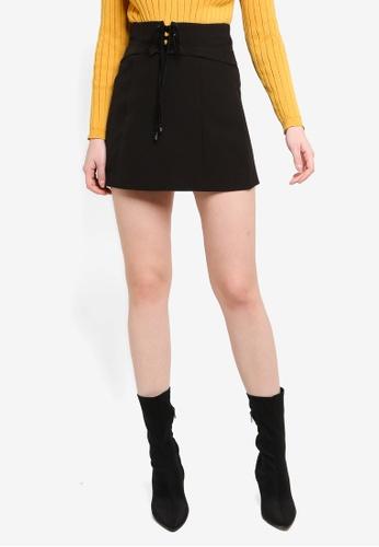 Hopeshow black Drawstring A-Line Mini Skirt F0463AA02ADEADGS_1