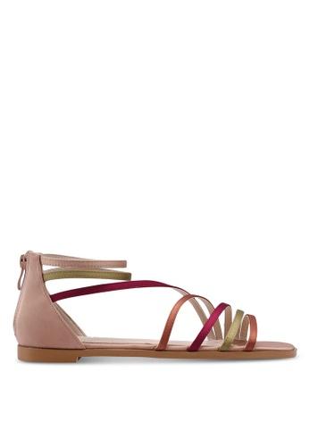 ZALORA brown and multi Multi Straps Zip Up Sandals 0E808SHB77AA4BGS_1