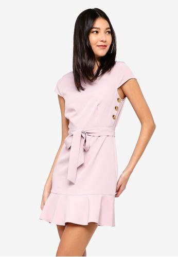 ZALORA pink Button Detail Dress 575F4AAC4EB25CGS_1